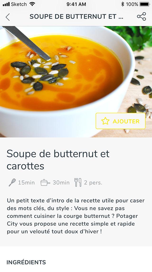 Claudia Berger - Webdesign et design application smartphone - Potager City - recette