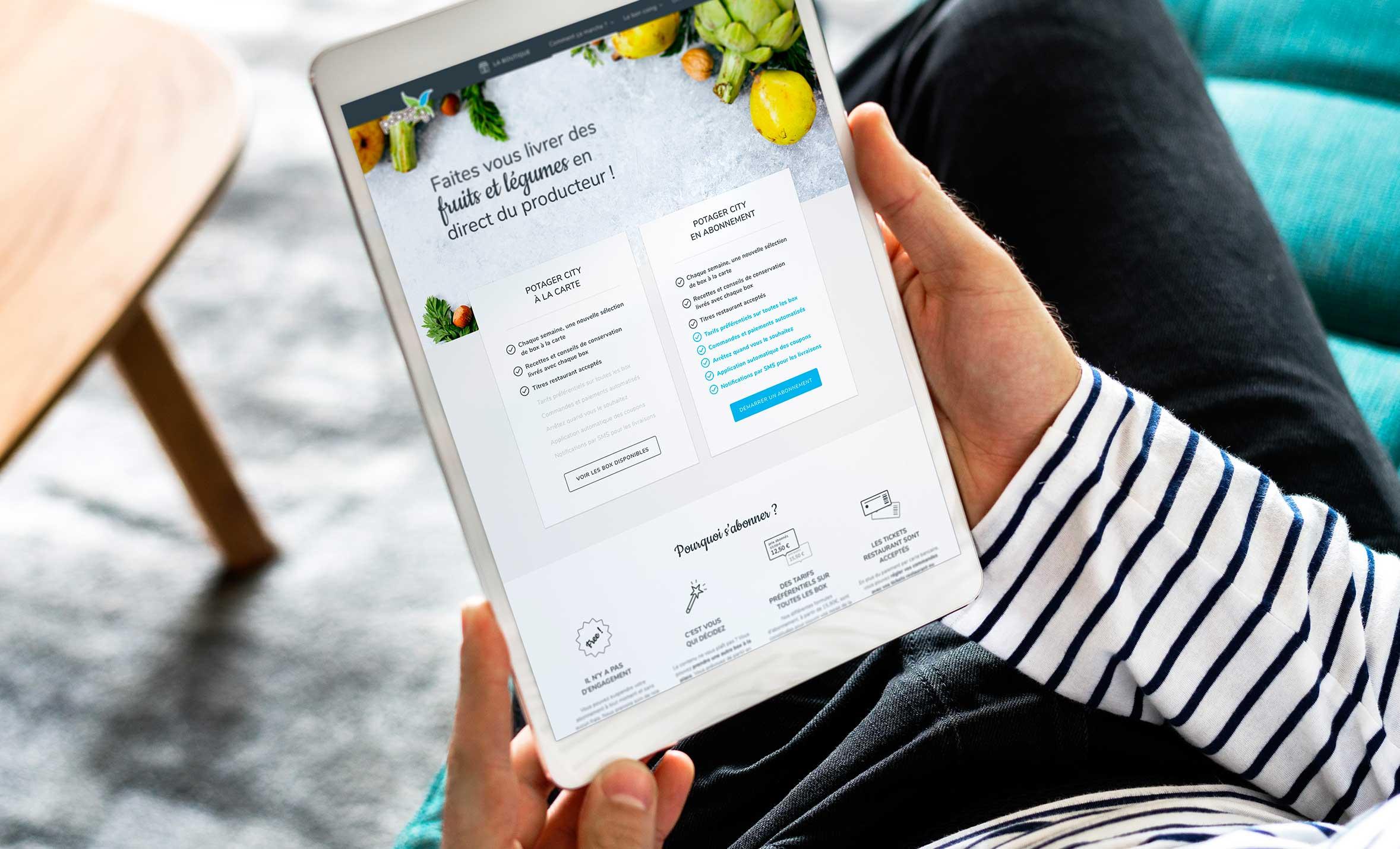 Claudia Berger - Webdesign et design application smartphone - Potager City - tablette